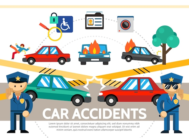 Flat auto accident concept with car crash pedestrian hit burning automobiles police surveillance video camera
