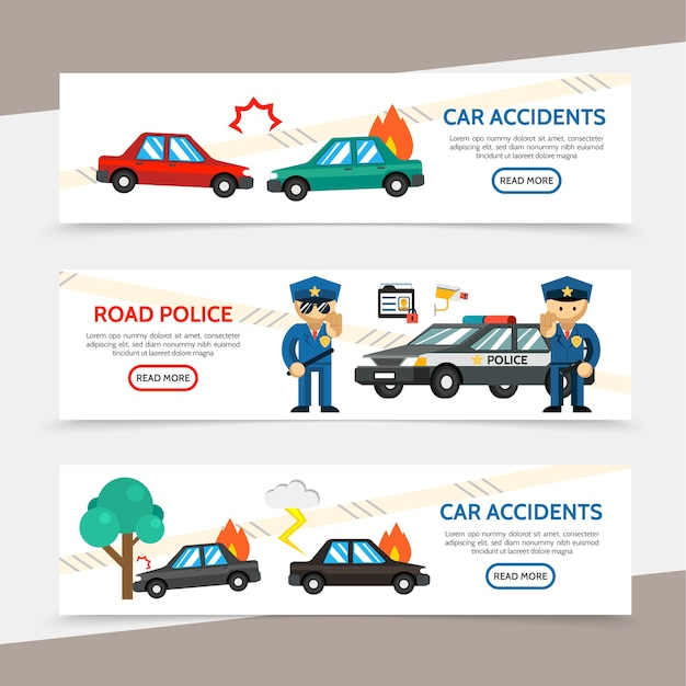 Flat auto accident horizontal banners with car crash police officers burning automobile video camera driver license illustration