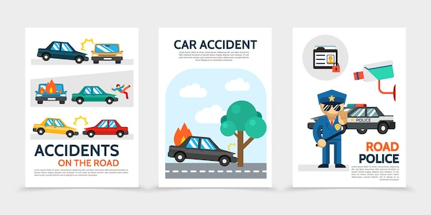 Flat auto accident vertical banners with car crash pedestrian hit burning automobile surveillance