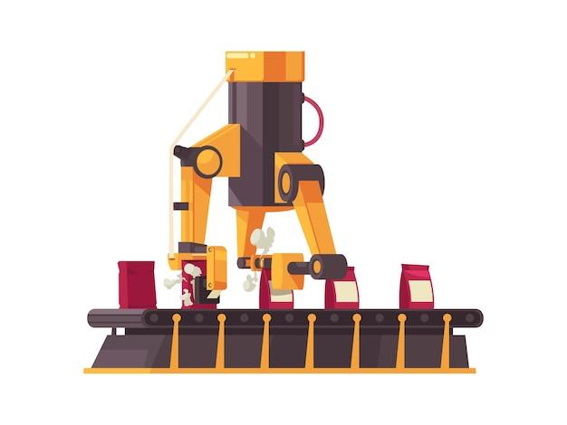 Плоская автоматизированная упаковочная машина с конвейерной лентой в работе