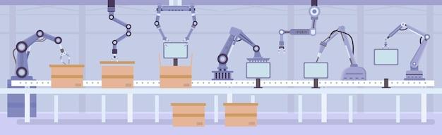 工場の組立ラインにあるフラットな自動ロボットアーム。製品とボックスを備えたコンベアを製造します。産業オートメーションマシンベクトルの概念