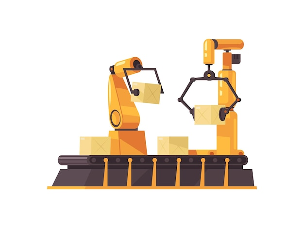 Flat automated robotic arms packing boxes on conveyor belt