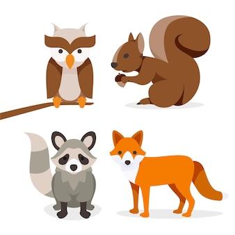 Плоская осенняя коллекция животных