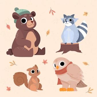 평평한 가을 동물 컬렉션