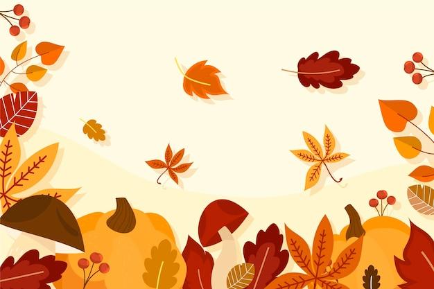 Плоская осень фон концепция