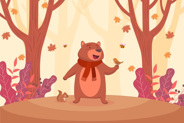 Flat autumn background with grizzly bear