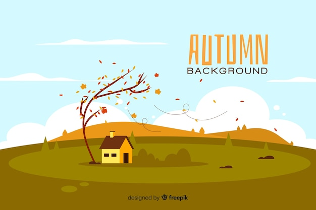 Flat autumn background with landscape