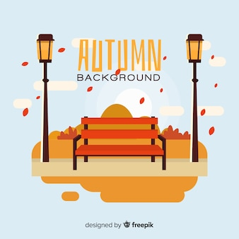 Flat autumn background with landscape