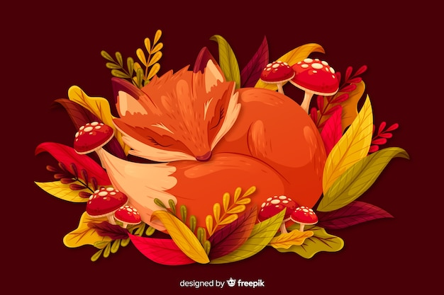 Flat autumn background with leaves