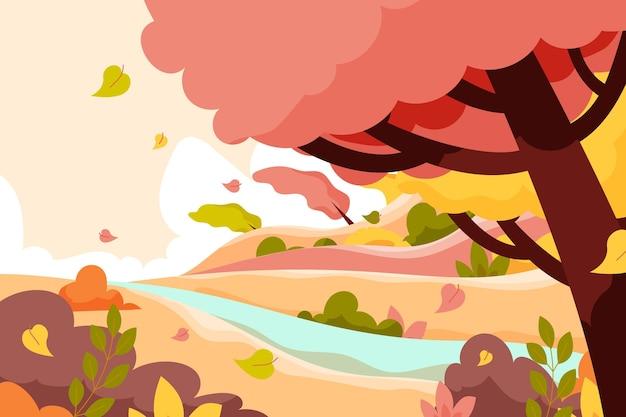 Flat autumn background Premium Vector