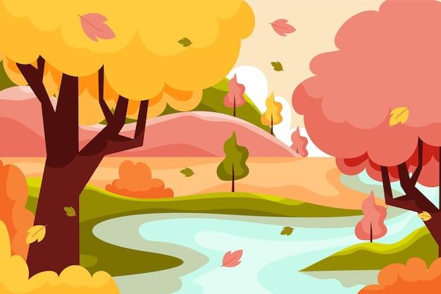 Flat autumn background