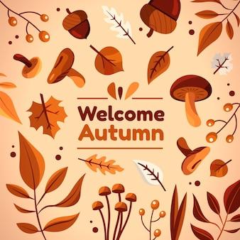 平らな秋の背景