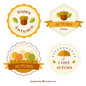 Flat autumn badge collection