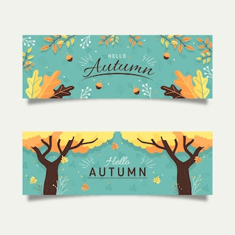 Flat autumn banners concept