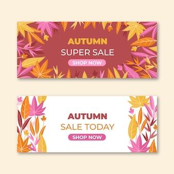 Flat autumn banners set