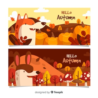 動物とフラット秋バナーテンプレート