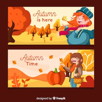 Flat autumn banners template with girls