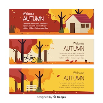 Flat autumn banners template with leaves