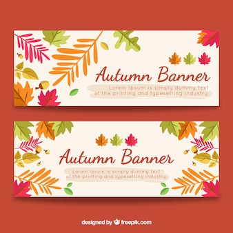 Flat autumn banners with fun style