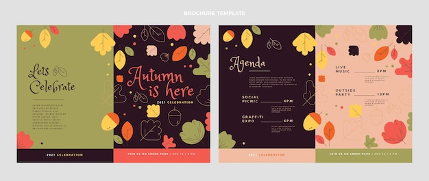 平らな秋のパンフレットテンプレート