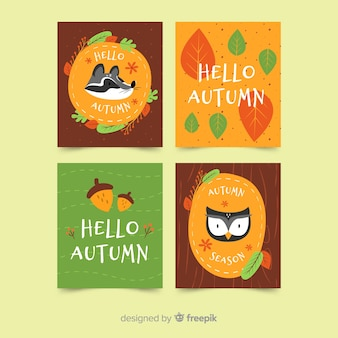 Flat autumn card template collection