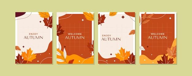 플랫 가을 카드 컬렉션