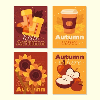 Flat autumn cards collection