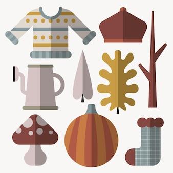 フラット秋の要素コレクション