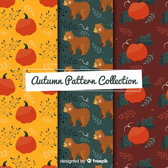 Flat autumn elements pattern collection