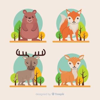 평평한 가을 숲 동물 모음