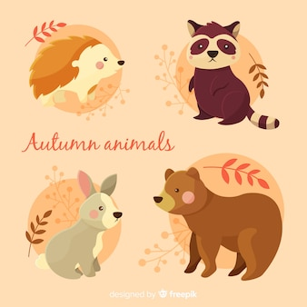 Flat autumn forest animals collection