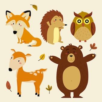 Плоские осенние лесные животные