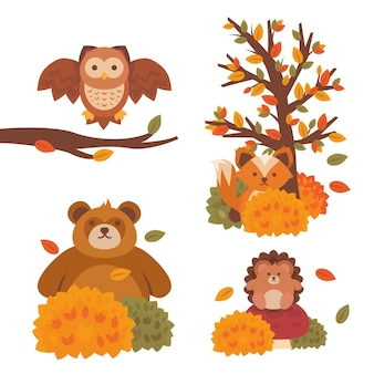 Flat autumn forest animals