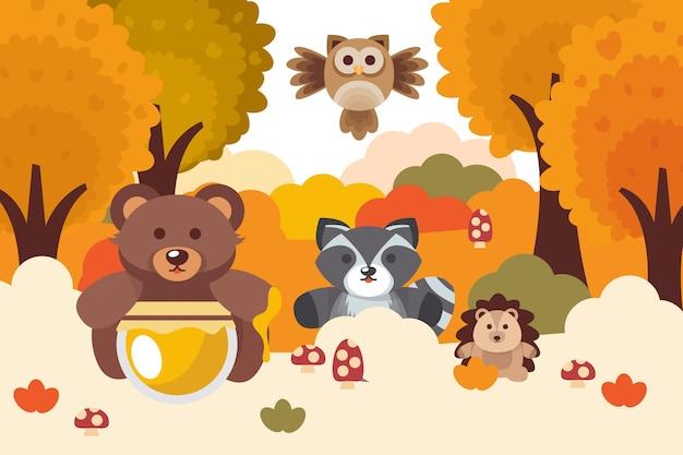 平らな秋の森の動物