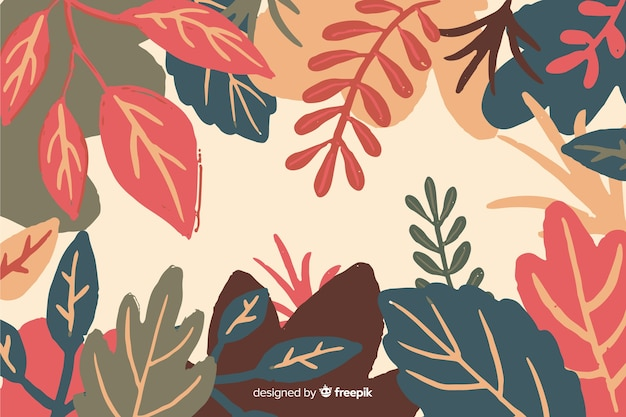 Flat autumn forest leaves background