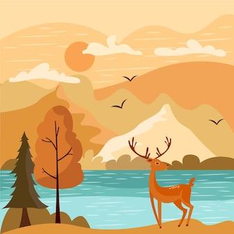 鹿と湖の風景と平らな秋のイラスト