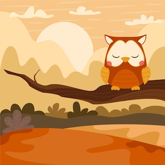 Flat autumn illustration with owl on branch