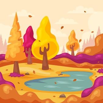 Flat autumn illustration