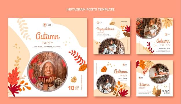 Collezione di post instagram autunnali piatti