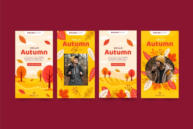 Flat autumn instagram stories collection with photo
