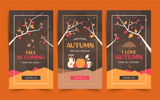 Flat autumn instagram stories collection