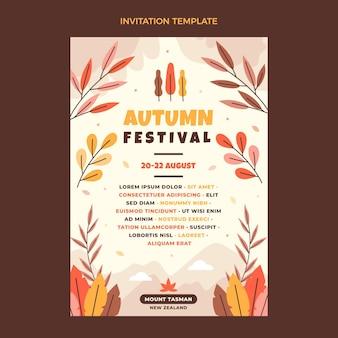 フラット秋の招待状テンプレート