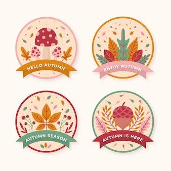 Flat autumn labels collection
