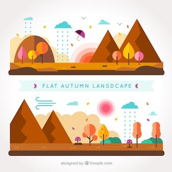 茶色の山フラット秋の風景