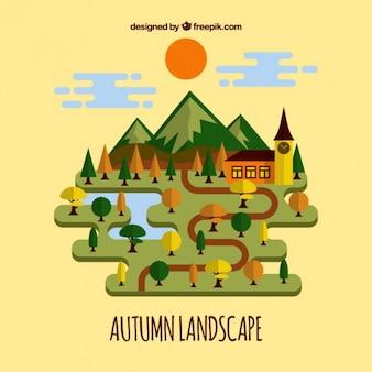 暖色系の樹木フラット秋の風景