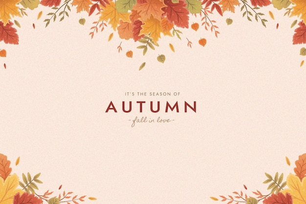 Flat autumn leaves background