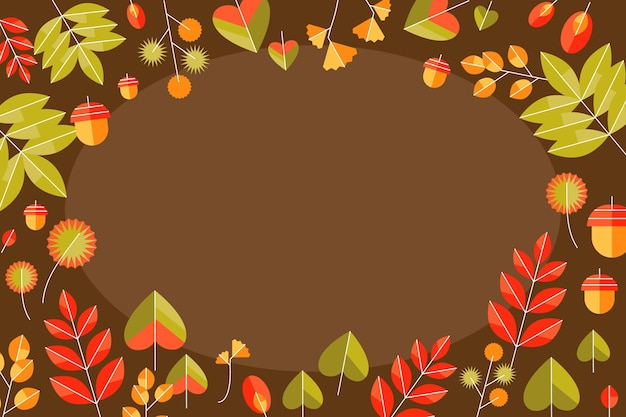 Flat autumn leaves background