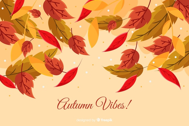 Flat autumn leaves decorative background