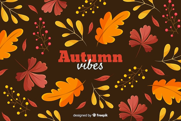 Flat autumn leaves decorative background