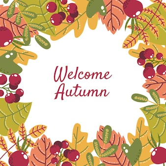 Flat autumn leaves with border background